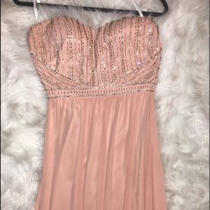 Prom Dress Light Pink with crystals/ bling